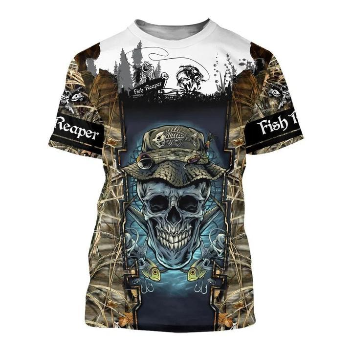 Skull Face T-Shirt M Guts Fishing Apparel