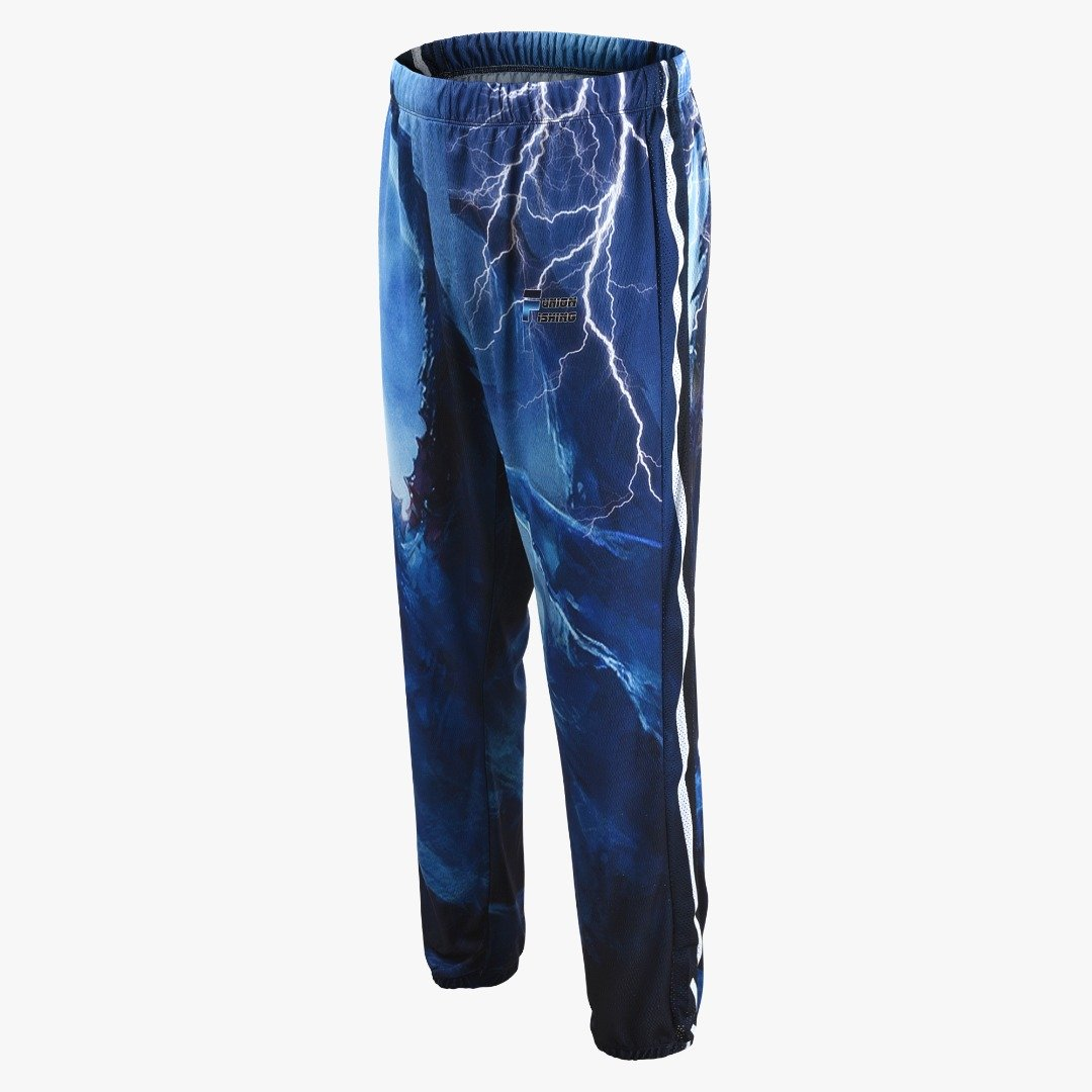 Long fishing pants with two pockets. Blue with lightening design.