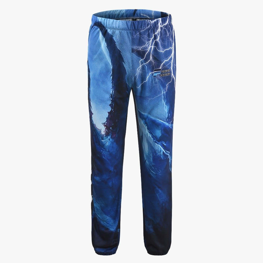 Long fishing pants. Blue with bolts of lightening. Two pockets.