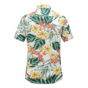 Men's Floral Hawaiian shirt. Yellow. Pocket on chest.