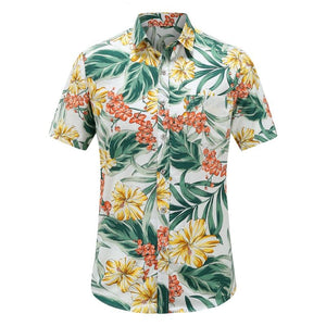 Men's Hawaiian Shirt with yellow and green flowers.  Chest pocket.