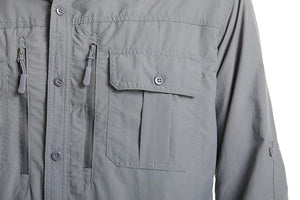 Men's grey shirt with multiple pockets.