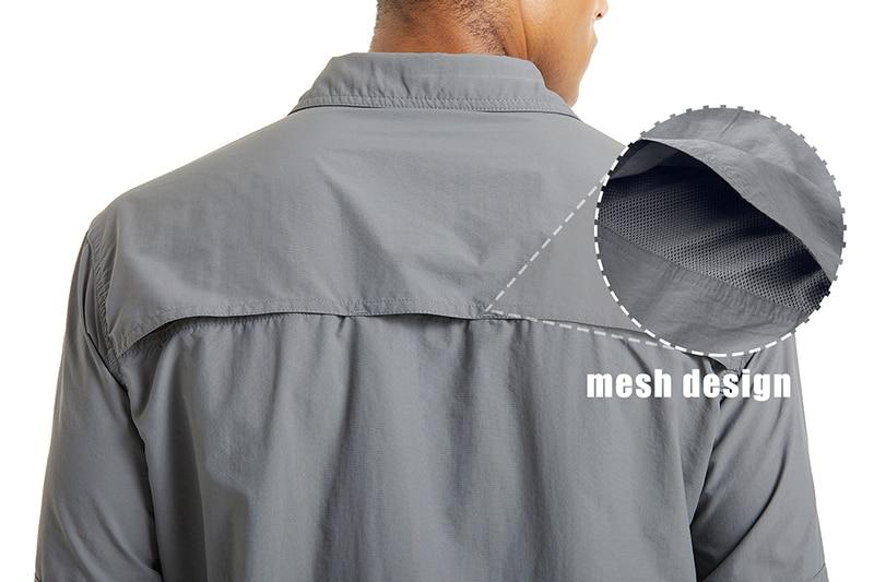 Grey shirt with moisture wicking lining and open ventilation on the back.
