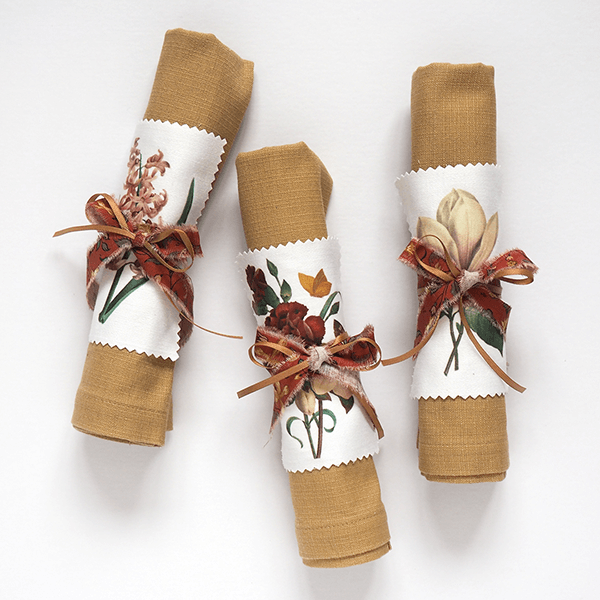 Make antique floral napkin rings