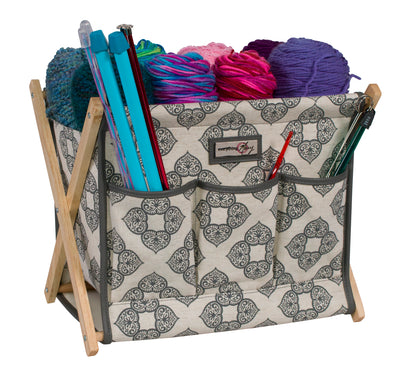 Fold-Up Knitting & Yarn Storage Caddy, Grey Canvas
