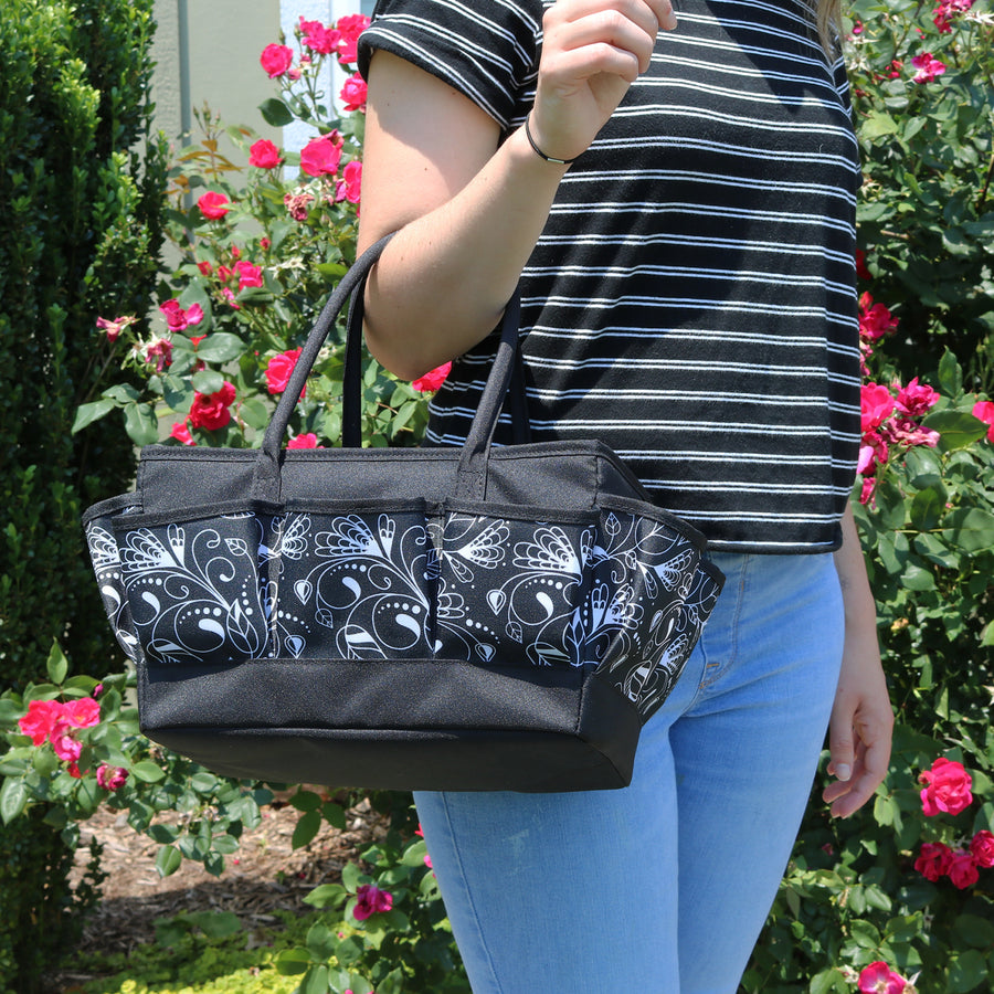 Everything Mary Large Craft Organizer Tote Bag, Black Floral
