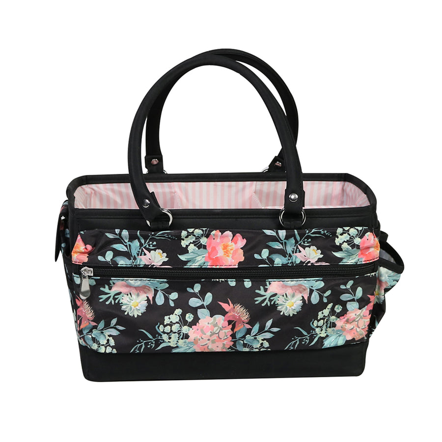 Collapsible Deluxe Store & Tote Craft Organizer, Black & Floral