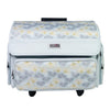 4 Wheel Collapsible Deluxe Rolling Sewing Machine Storage Case, Grey Floral