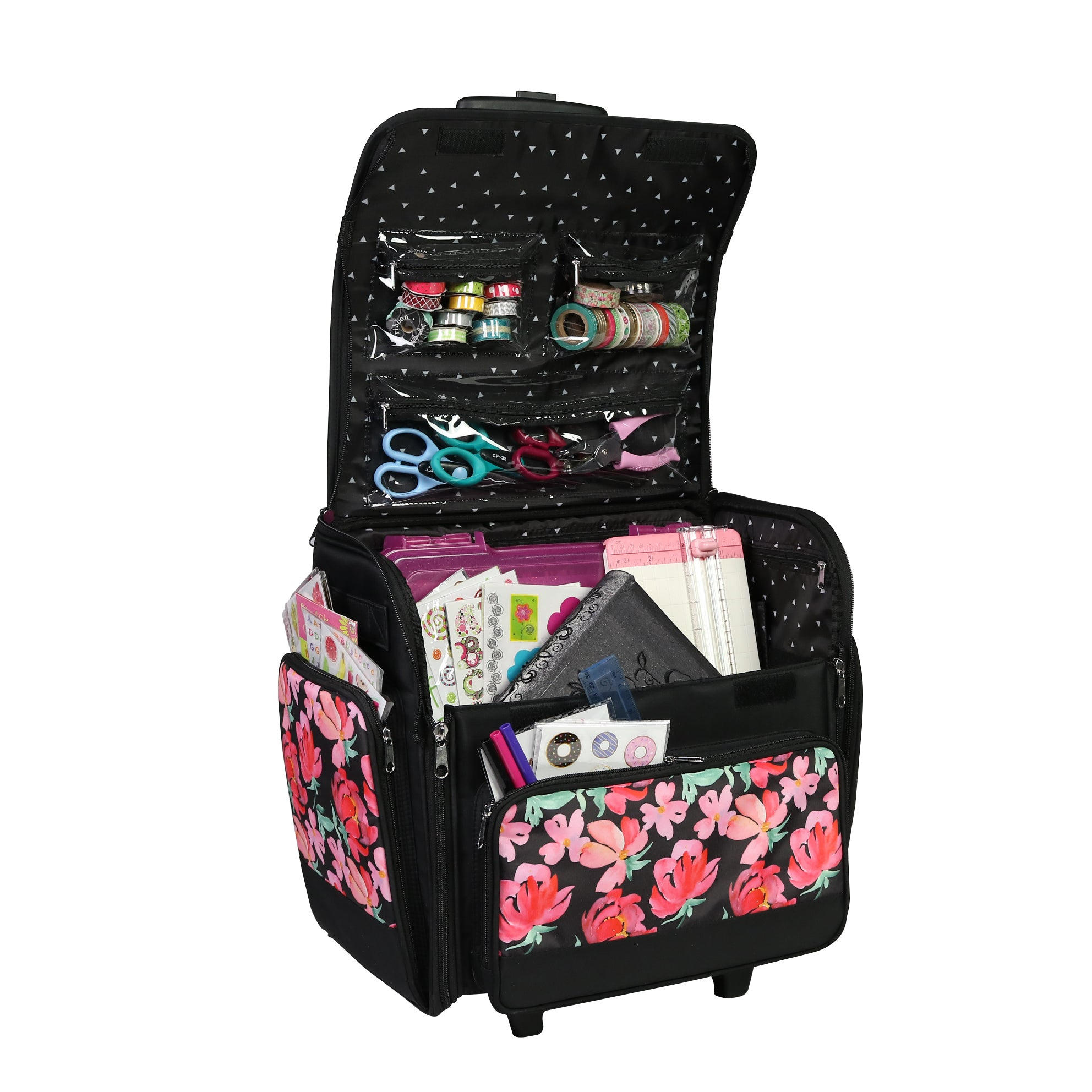 Heather Everything Mary Deluxe Collapsible Rolling Craft Case for Teachers /& Medical Scrapbook Tote Bag w//Wheels for Scrapbooking /& Art Travel Organizer Storage for IRIS Boxes