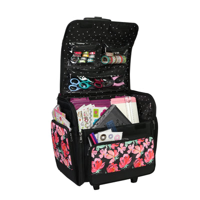 Deluxe Rolling Scrapbooking Case, Black & Floral