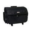 4 Wheel Collapsible Deluxe Rolling Sewing Machine Storage Case, Black Quilted