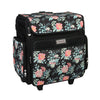 Collapsible Rolling Scrapbooking Case, Black Flowers