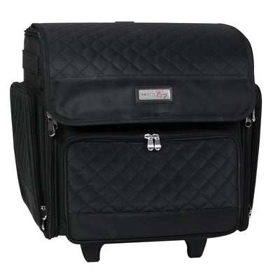 Deluxe Collapsible Rolling Scrapbook Case, Black Quilted