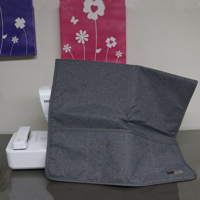Everything Mary Deluxe XXL Quilted Fabric Sewing Machine Cover, Grey Heather
