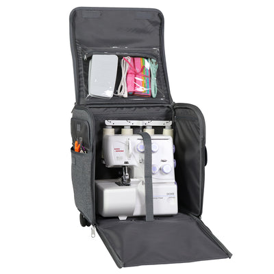 Collapsible Rolling Serger Machine Case, Heather