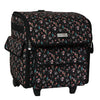 Collapsible Rolling Serger Machine Case, Black Floral
