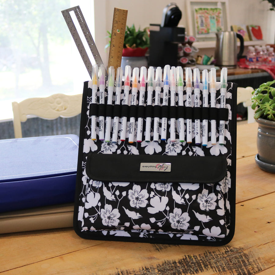 Everything Mary Art & Scrapbook Organizer Storage Easel, Black Flowers