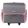 Deluxe Collapsible Rolling Sewing Case, Pink & Grey