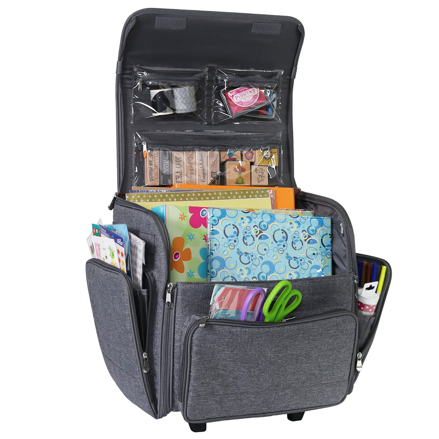 Deluxe Collapsible Rolling Scrapbook Case, Heather