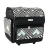 Deluxe Collapsible Scrapbook Rolling Travel Case, Teal Geometric