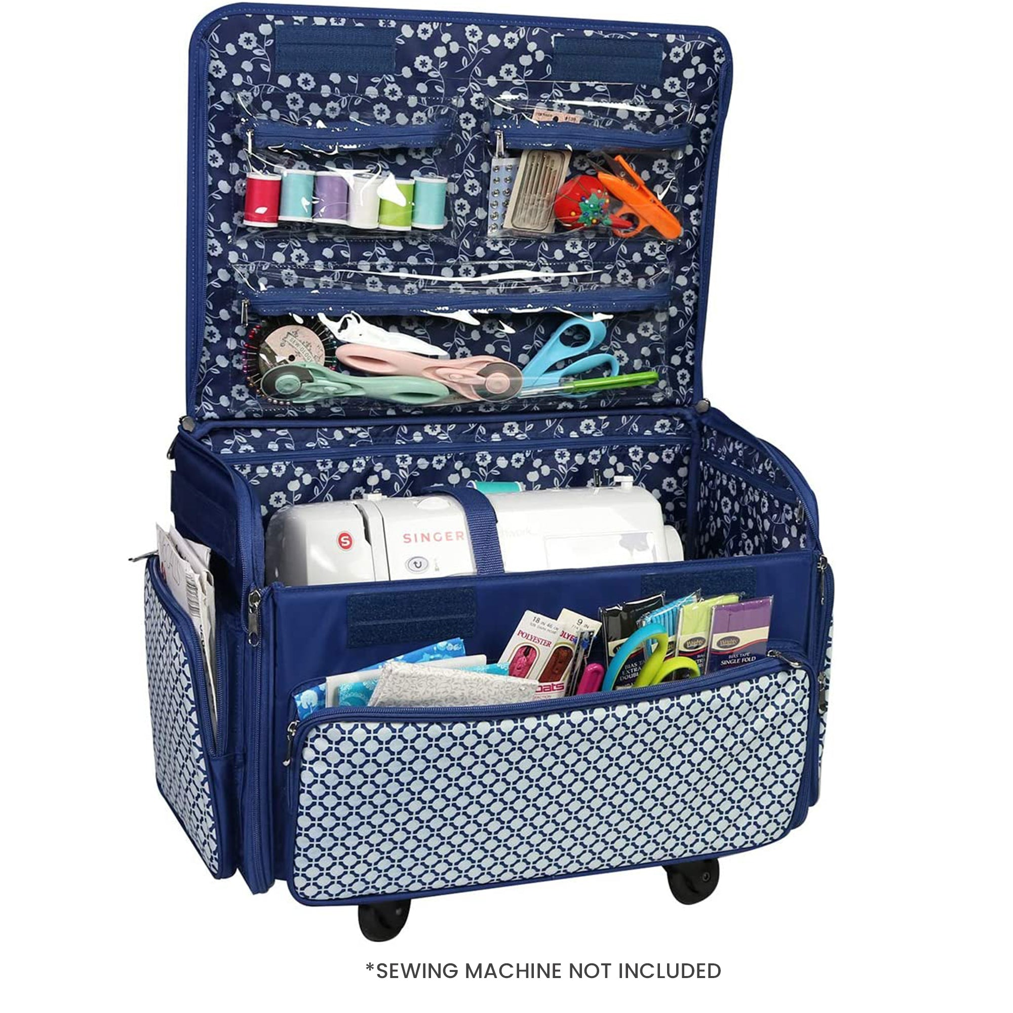 Everything Mary 4 Wheels Collapsible Deluxe Sewing Machine Storage Case Color Rolling Trolley Carrying Bag For Brother Singer Bernina Most Machines Travel Tote Organizer For Accessories
