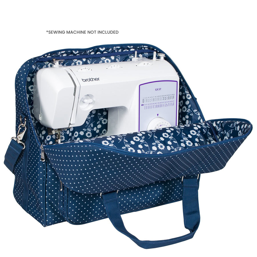 Deluxe Sewing Machine Carrying Tote, Blue Polka Dot