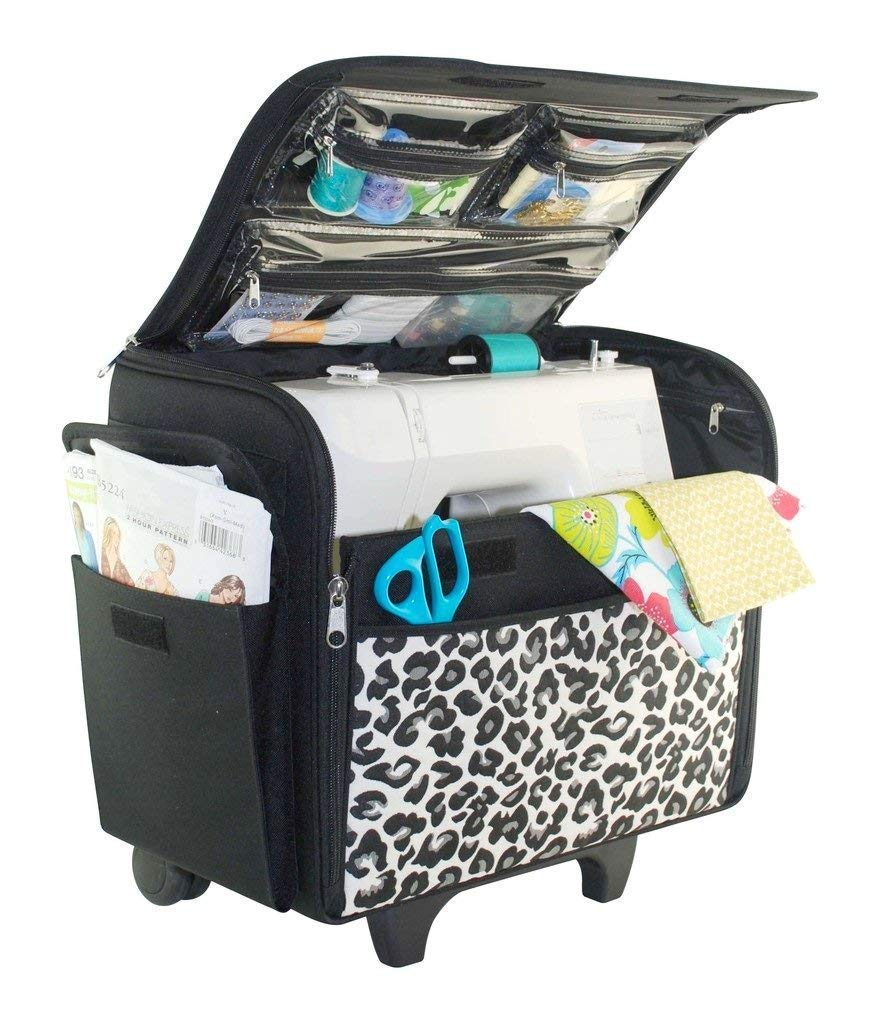 Rolling Sewing Machine Case, Cheetah Print