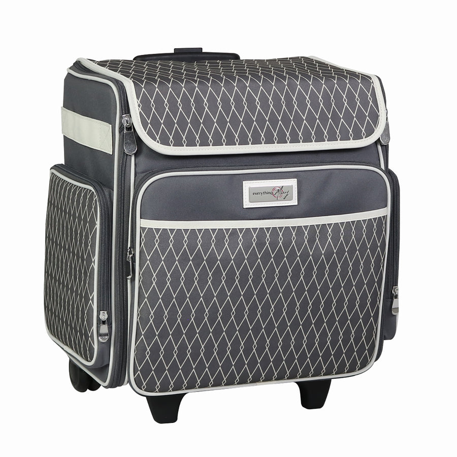 Rolling Scrapbook Travel Case w/ Locking Handle, Grey & White