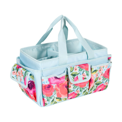 Craft Store & Tote Craft Organizer, Teal & Floral