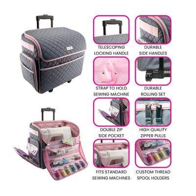 Deluxe Rolling Sewing Case, Pink & Grey