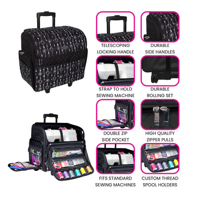 Deluxe Rolling Sewing Case, Black & White