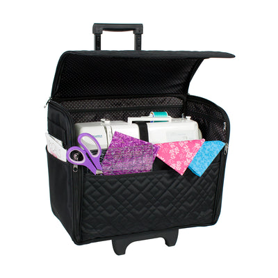 Rolling Sewing Machine Case, Black Quilted