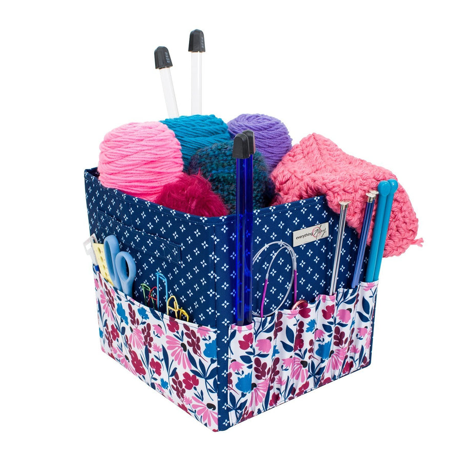 Square Yarn Project Caddy, Pink & Blue