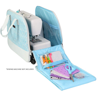 Collapsible Rolling Sewing Machine Camper Case, Blue & Grey