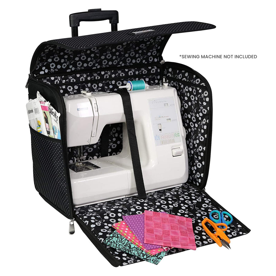 Collapsible Rolling Sewing Machine Case, Black Polka Dot