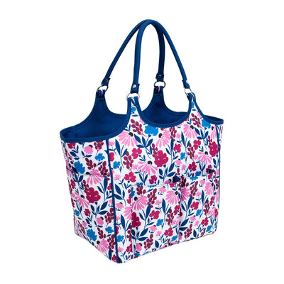 Deluxe Knitting Travel Tote, Pink & Blue