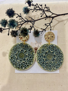 Wolf & Clay -Green Dream with Gold Earrings