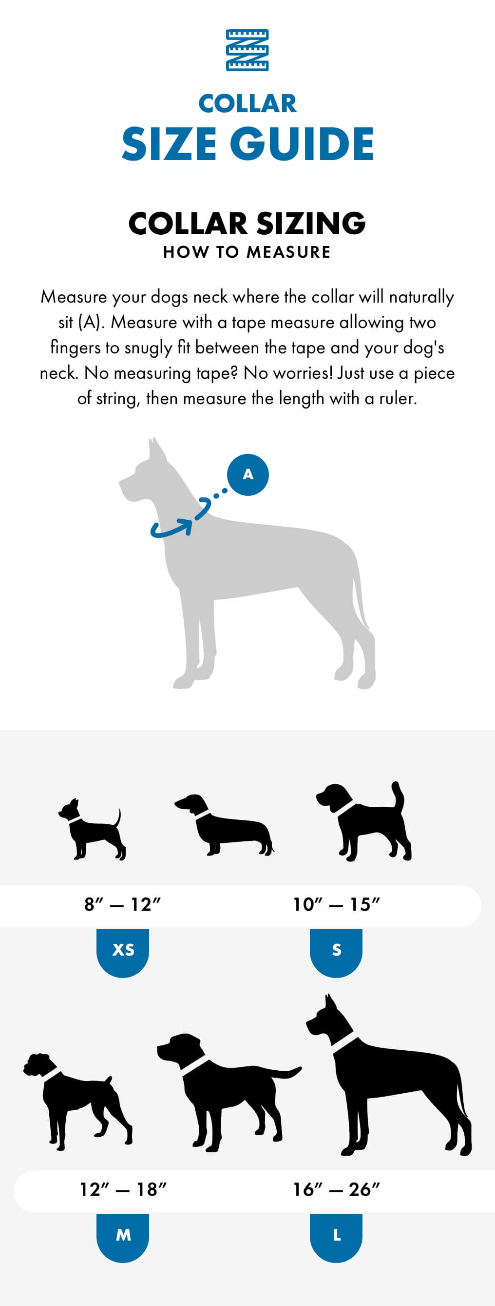 Bingin dog neoprene collar sizing guide.