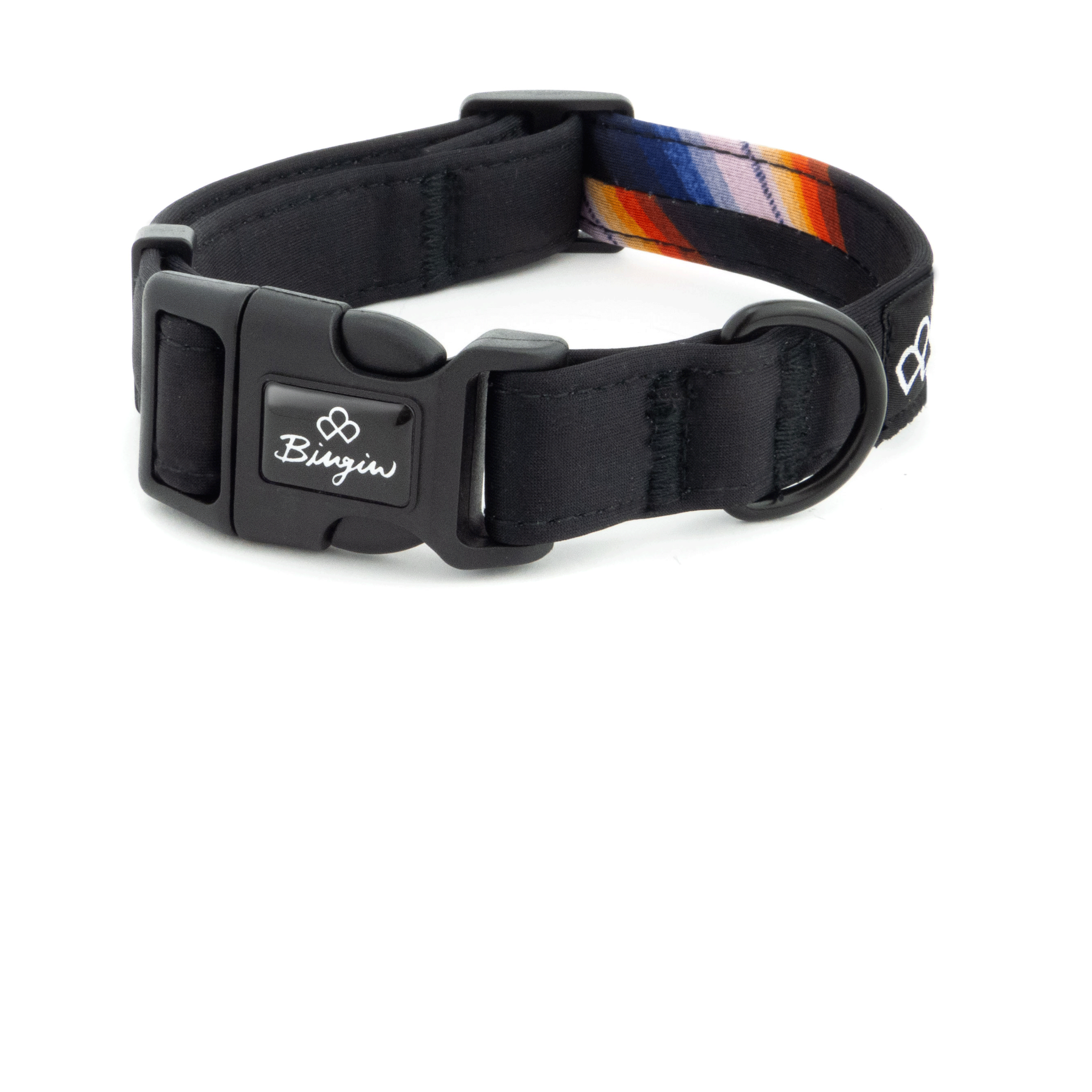 Bingin Dog 'Back in Black' waterproof dog collars. A solid black print with one blue, orange and white serape stripe detail.