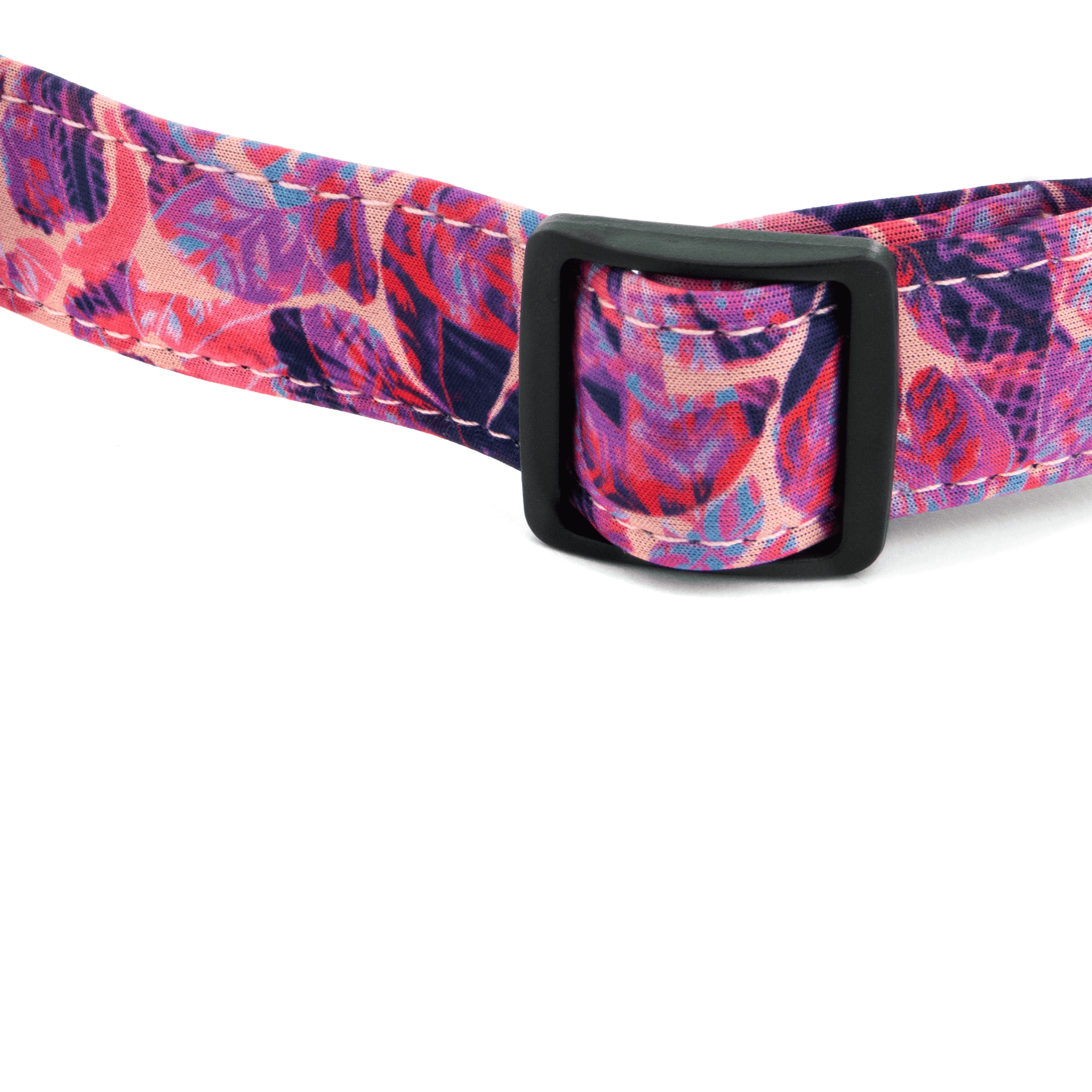 Bingin Dog 'Hanalei' waterproof dog collars; neoprene detail view. Pink hibiscus print with accents of bright blue and orange.