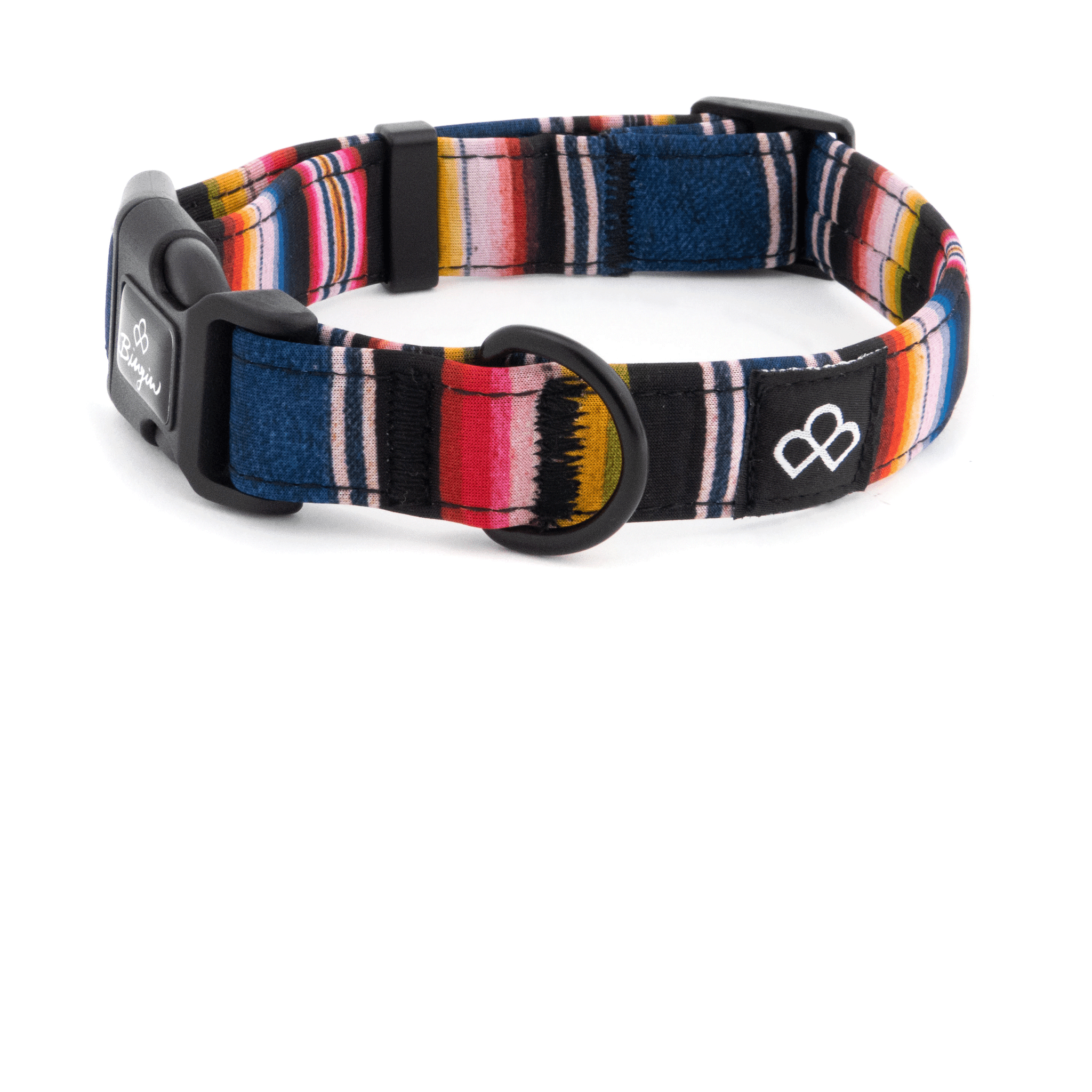 Bingin Dog 'Los Amigos' serape waterproof dog collars; side view. A vibrant and timeless, classic serape print.