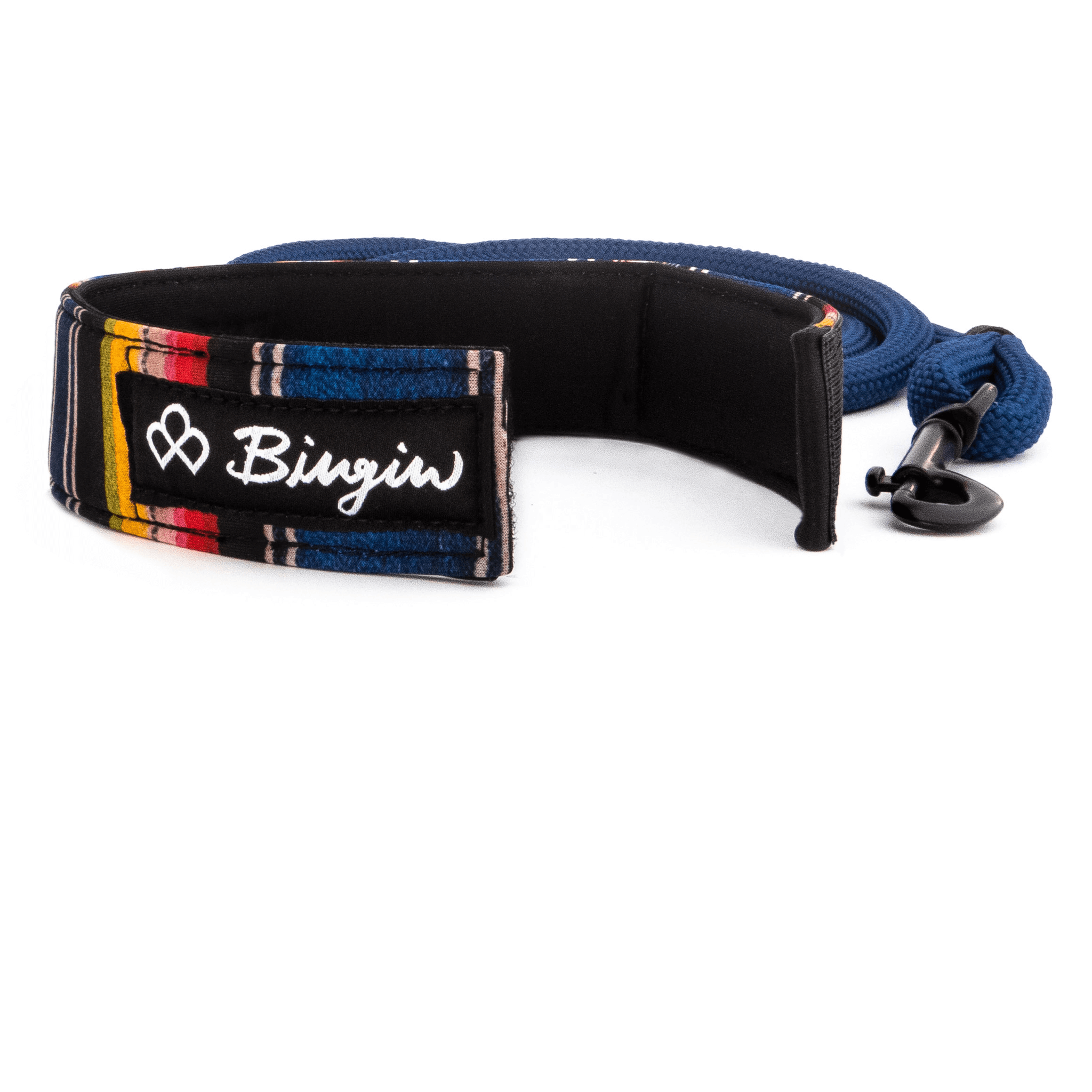 Bingin Dog 'Los Amigos' serape surf-style rope dog leash shown with velcro cuff leash handle opened.