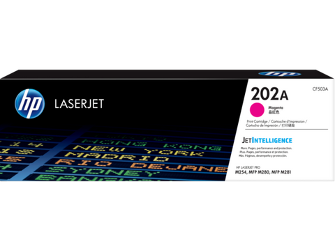 HP 202A (CF503A) Color LaserJet Pro M254 MFP M281 Magenta Original LaserJet Toner Cartridge (1300 Yield)
