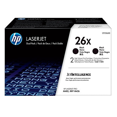 HP 26X (CF226XD) 2-Pack High Yield Black Original LaserJet Toner Cartridges (2 x 9000 Yield)