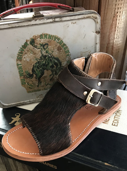 Amber Cowhide Sandal with buckle detail and zipper