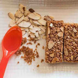 Almond & Cinnamon Flapjack Heart healthy snack which contains insoluble fibre that has cancer fighting properties as it reduces the toxins in the body
