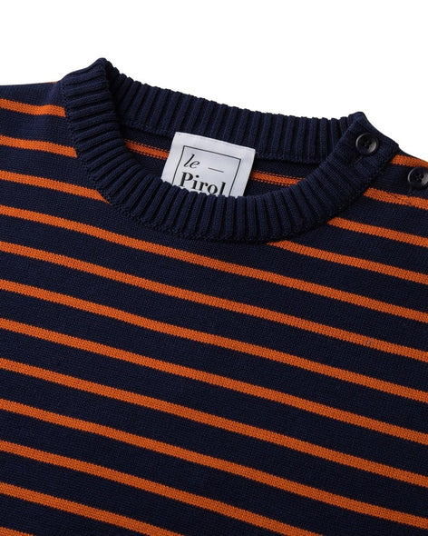 Coastal Stripe Cotton Jumper - Navy/Burnt Orange