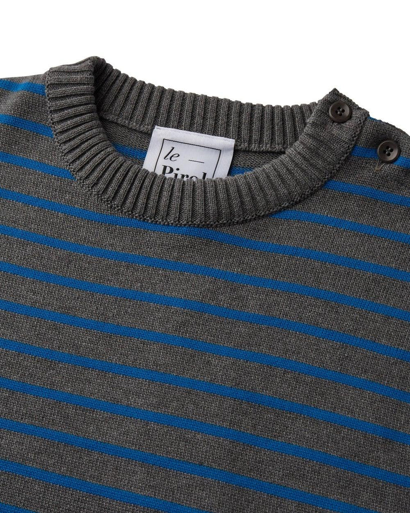 Coastal Stripe Cotton Jumper - Grey/Blue