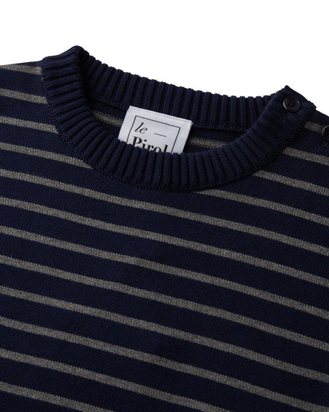 Coastal Stripe Cotton Jumper - Navy/Grey