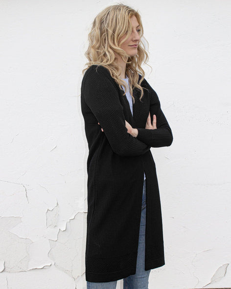 Fiord Seed Long Cardigan - Black